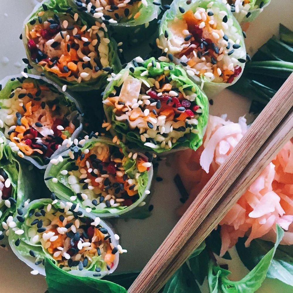 vegan, chiang mai, thailand, dada kafe, spring rolls