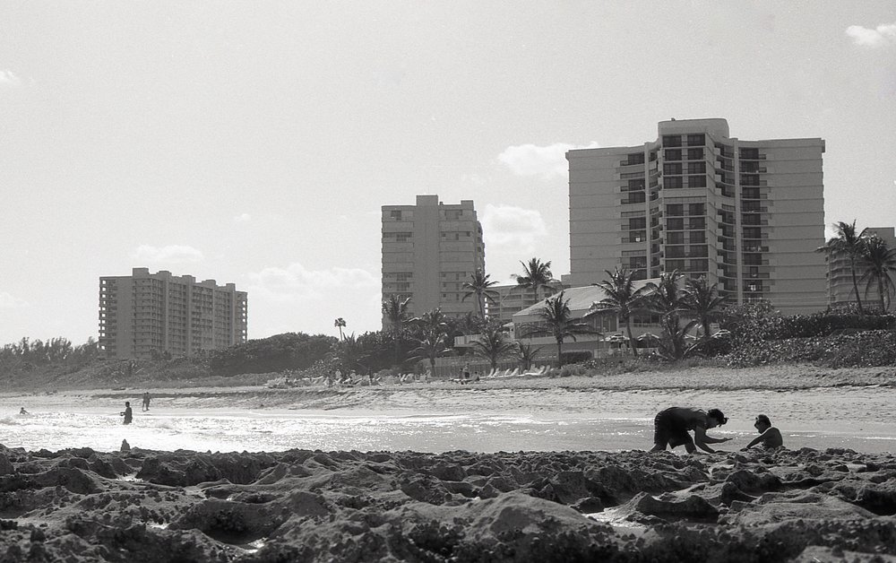 Playing in the sand in Boca Raton, FL. Fall 2016. (T-Max 100)