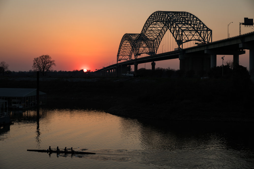 Sunset over the Mississippi River in Memphis, TN on March 23, 2017.