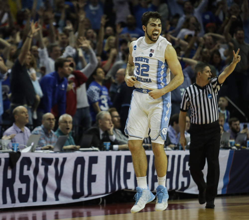 North Carolina forward Luke Maye (32) celebrates after he hit the game winning shot in the NCAA Elite Eight game against Kentucky in Memphis on March 26, 2017.