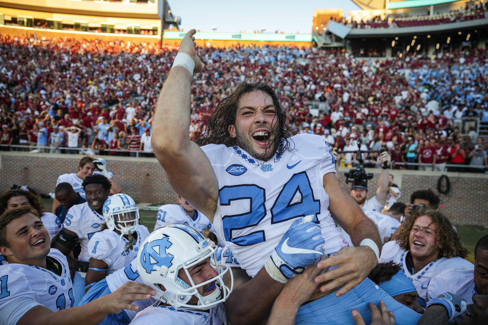 The UNC football team defeated Florida State 37-35 off a Nick Weiler career-high 54-yard field goal in Tallahassee, FL on October 1, 2016.