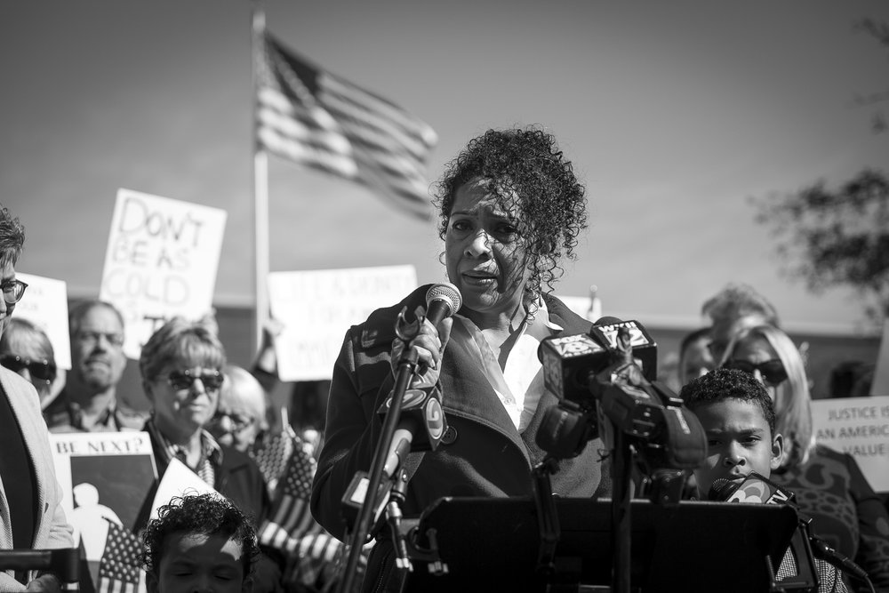 "Minerva addresses the media before her meeting with ICE at an immigration courthouse in Charlotte, NC on Nov. 16, 2017. ""I really don't know what's going to happen in there,"" Garcia said. ""I'm scared."""