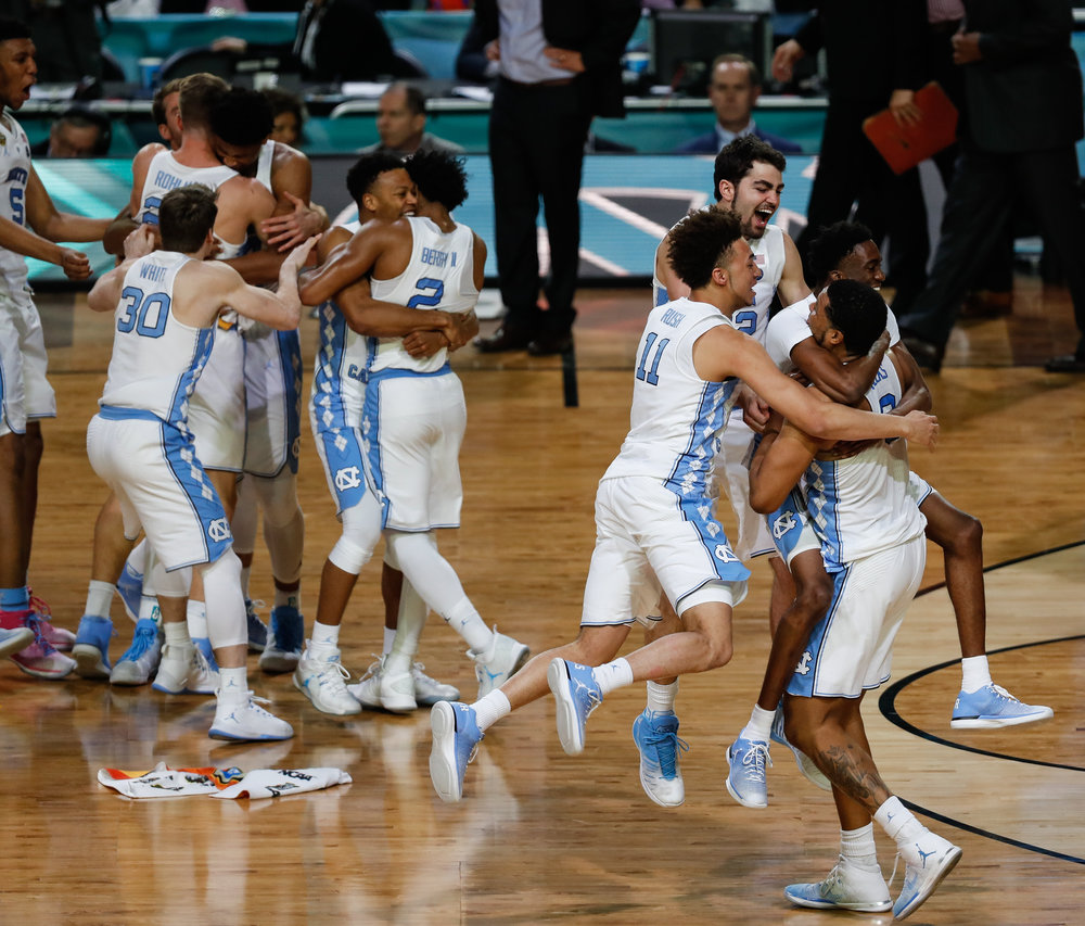 The North Carolina men's basketball defeated Gonzaga 71-65 in the 2017 NCAA National Championship in Glendale, AZ on April 3, 2017 to claim the title only a year after losing to Villanova in the title game.
