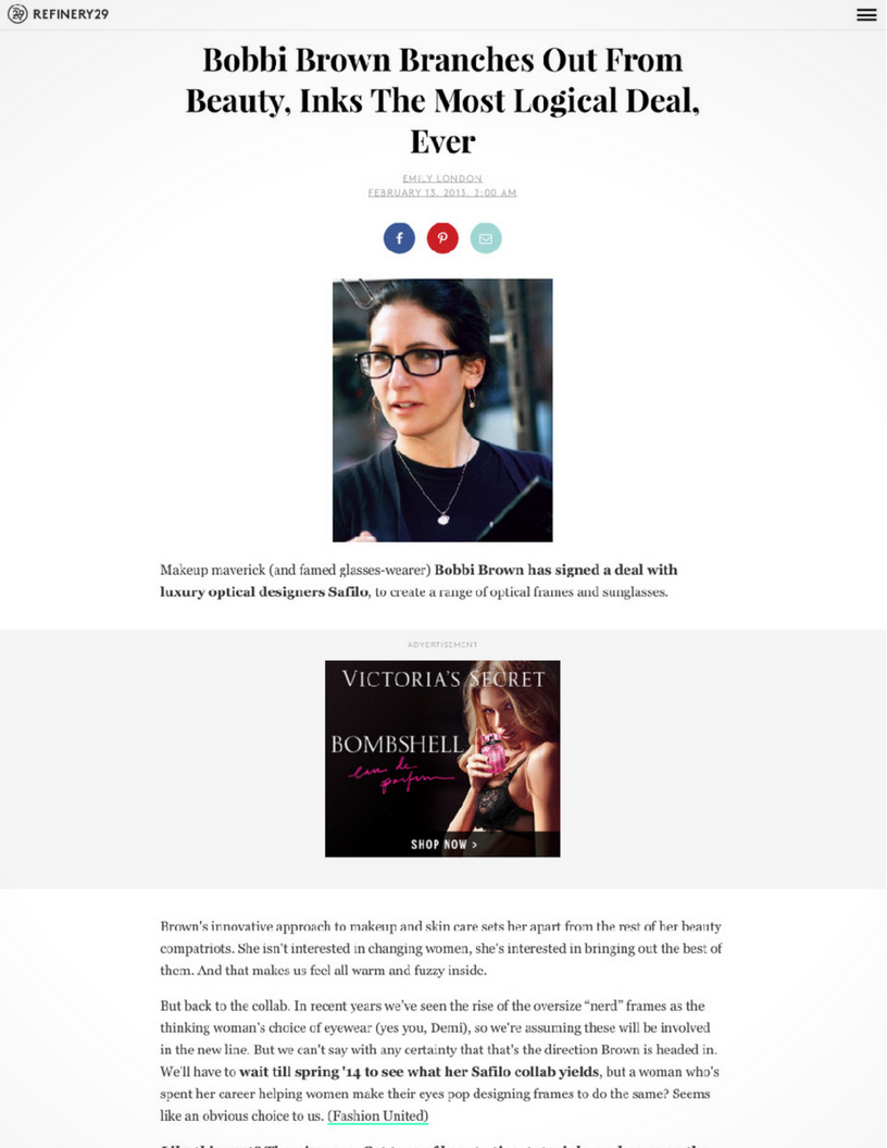 Refinery 29: Bobbi Brown Branches Out From Beauty, Inks The Most Logical Deal, Ever