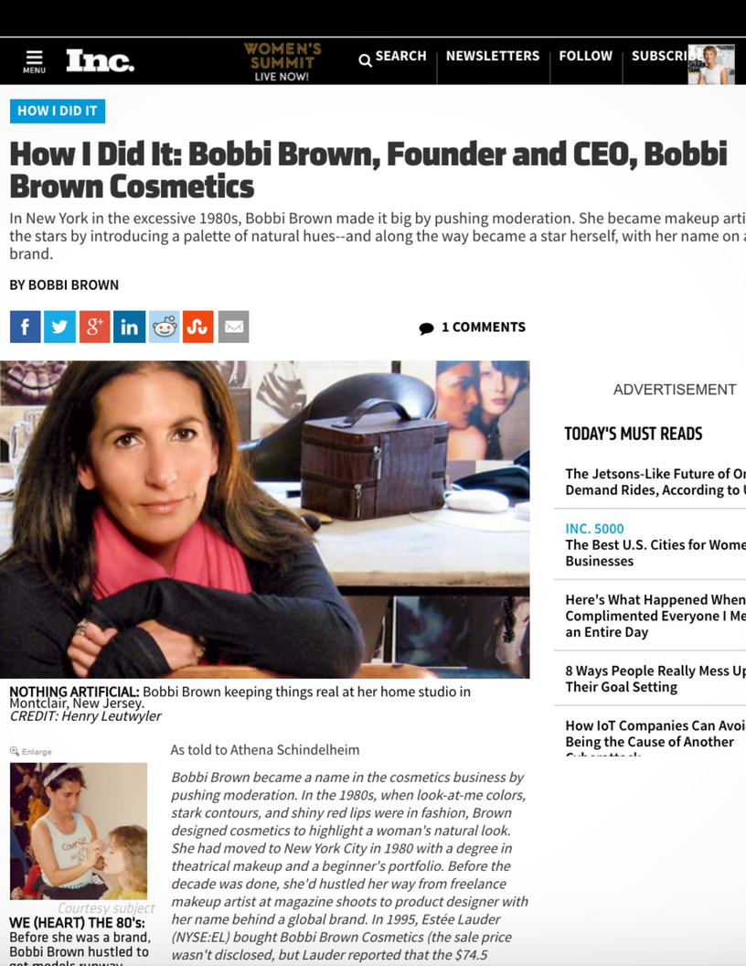 Inc: How I Did It: Bobbi Brown, Founder and CEO, Bobbi Brown Cosmetics