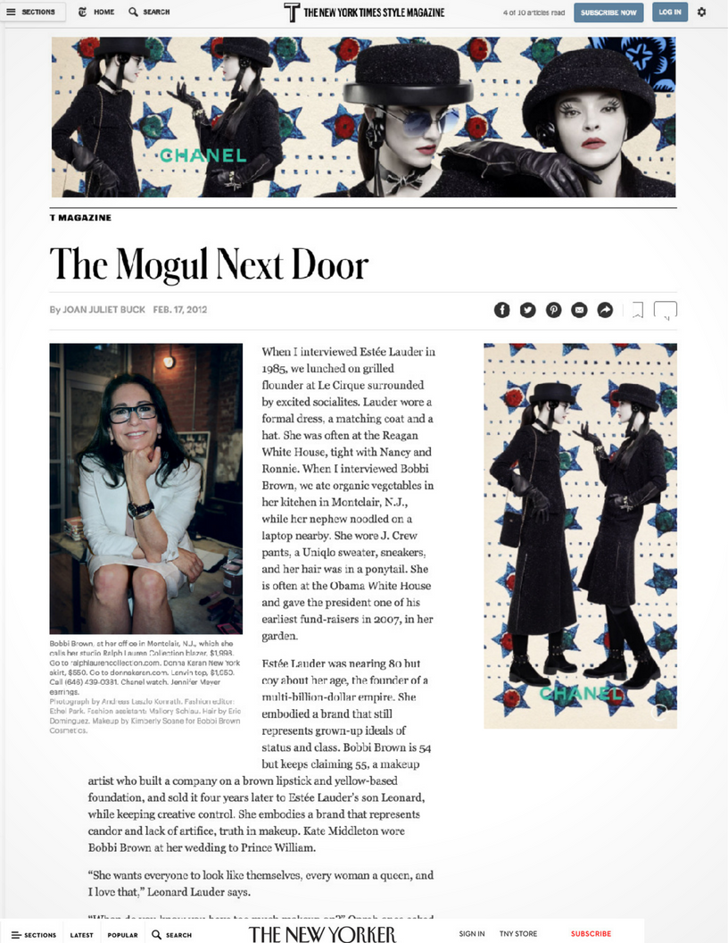 The New York Times: Bobbi Brown, the Mogul Next Door