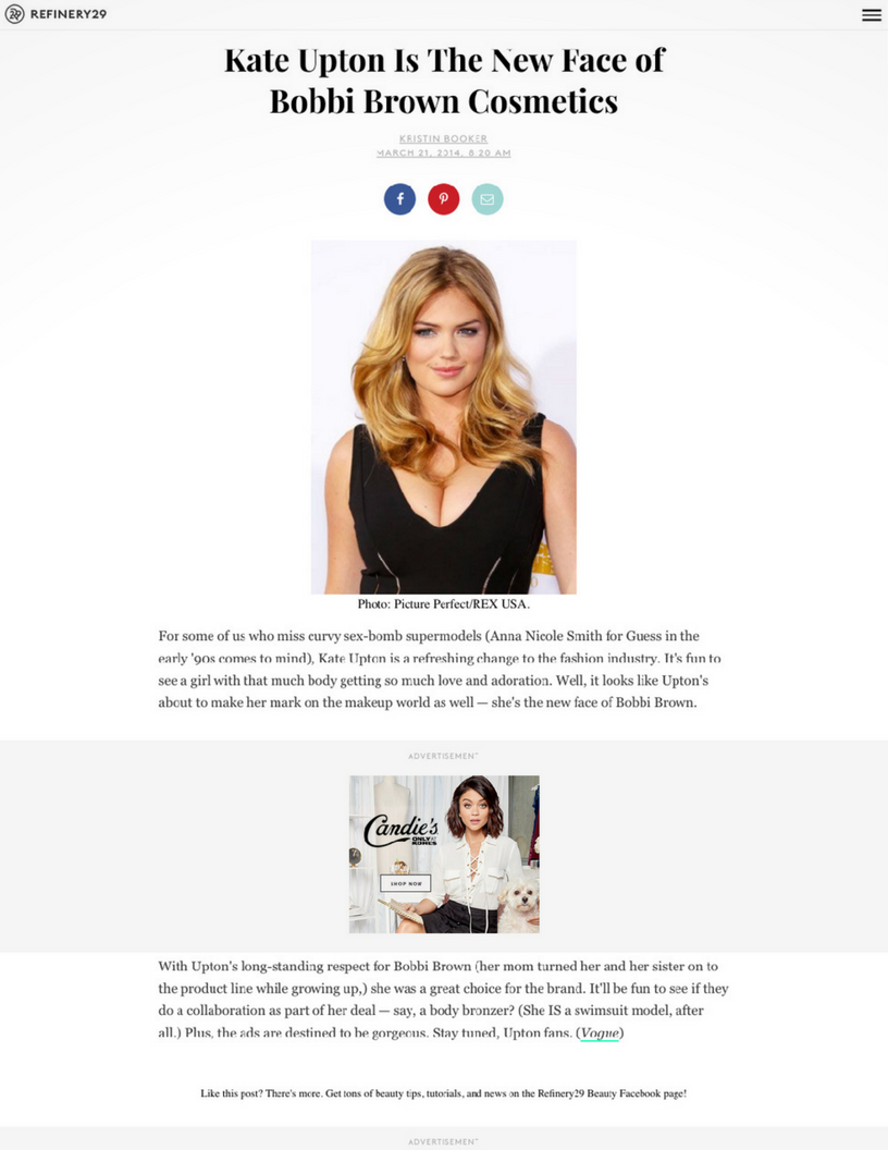Refinery 29: Kate Upton Is The New Face of Bobbi Brown Cosmetics