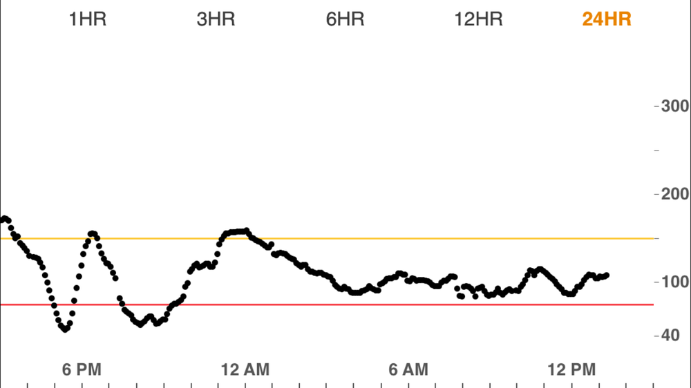 These are my actual blood sugars from the last 24 hours. As you can see I had low blood sugar twice, I ate a high carb dinner and then went on a hike causing the first low and the second low was at the gym. The highs arent actually very high because i have my parameters set pretty tight so that i can be alerted early.