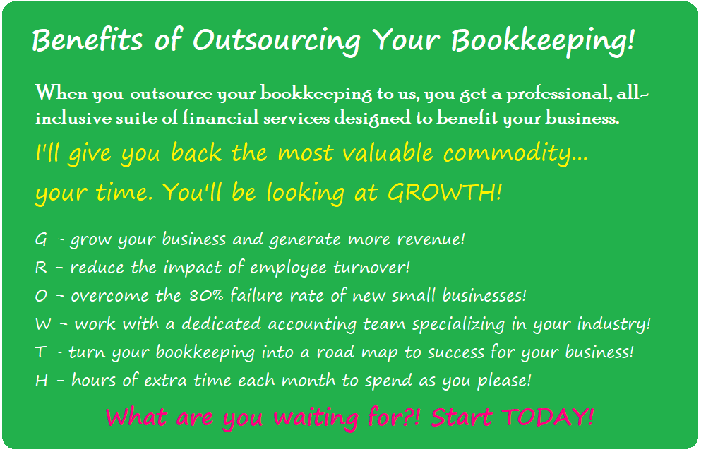 Outsourcing your bookkeeping, payroll, and financial services has great benefits!