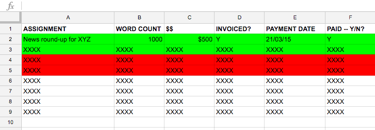 Example of payment log or, Money I am owed