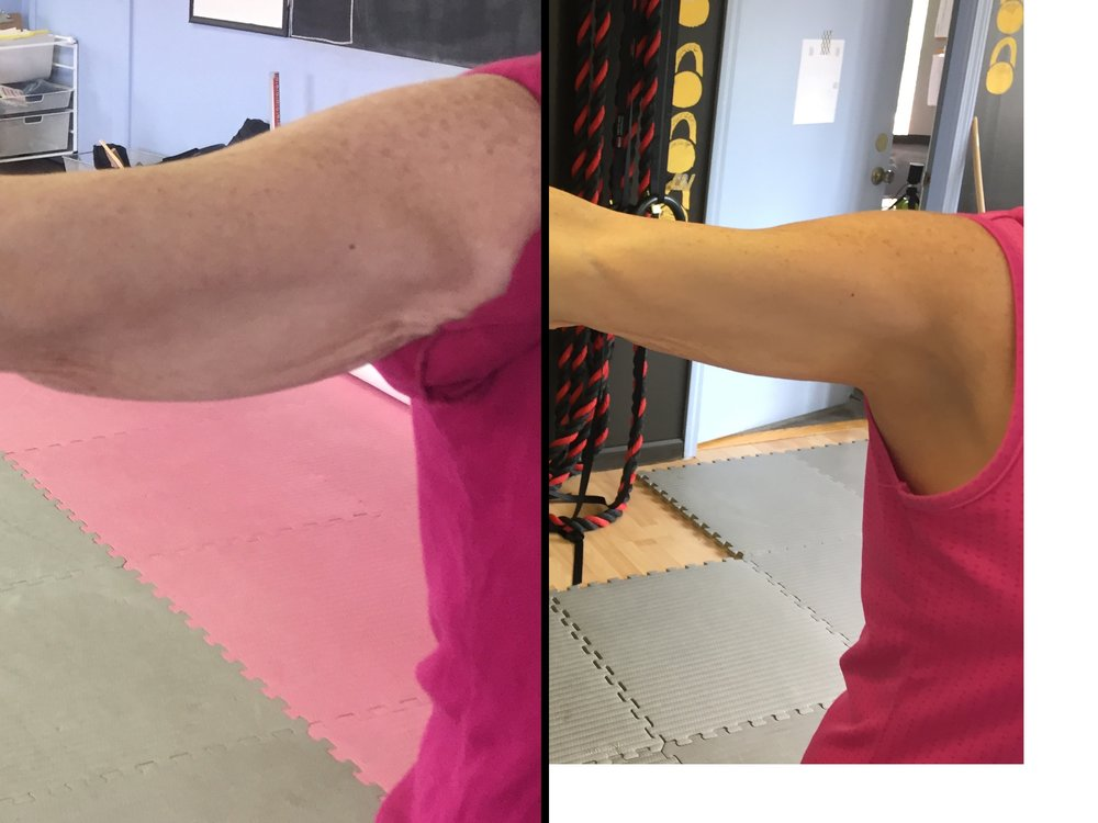 4 months of strength & conditioning with kettlebells tones arms and reduces fat.