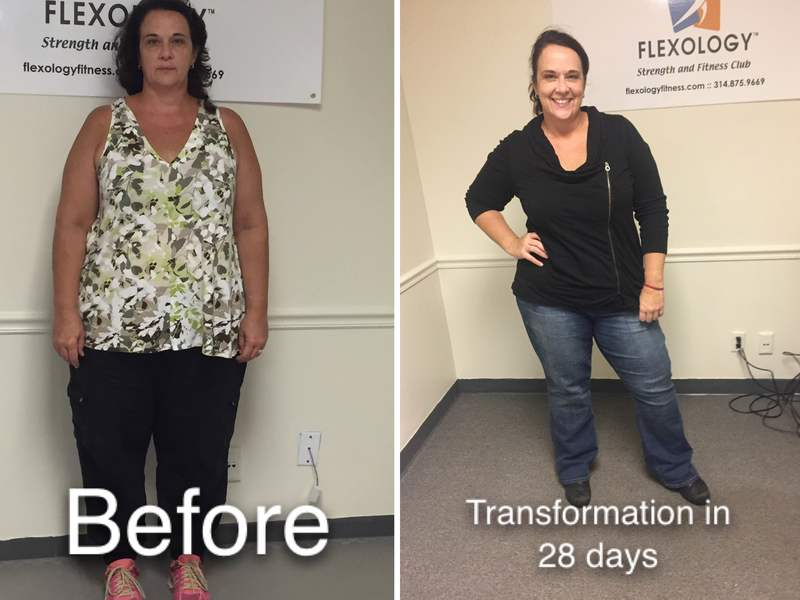 Bonnee lost 17 pounds on the scale in less than a month (lost 35 pounds of body fat and gained 16 pounds of muscle).