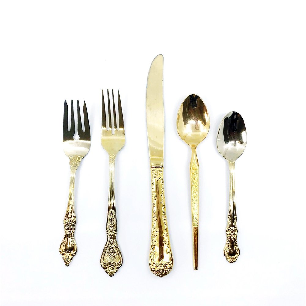 VINTAGE | Mismatched Gold Flatware