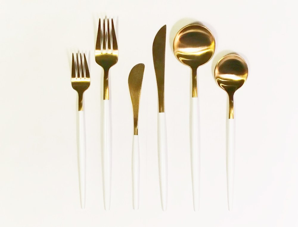 Luxe Gold Flatware - White Dipped