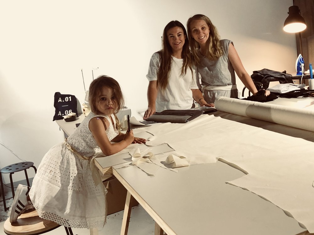 Gendry and her daughter with Courtney in the A.BCH studio.