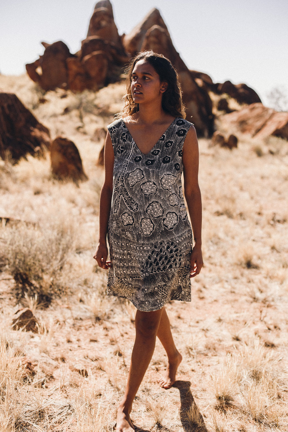 Through this collaboration with NORTH, the artists invite you to celebrate Warlpiri culture and their artwork, shared for the first time as fashion. -