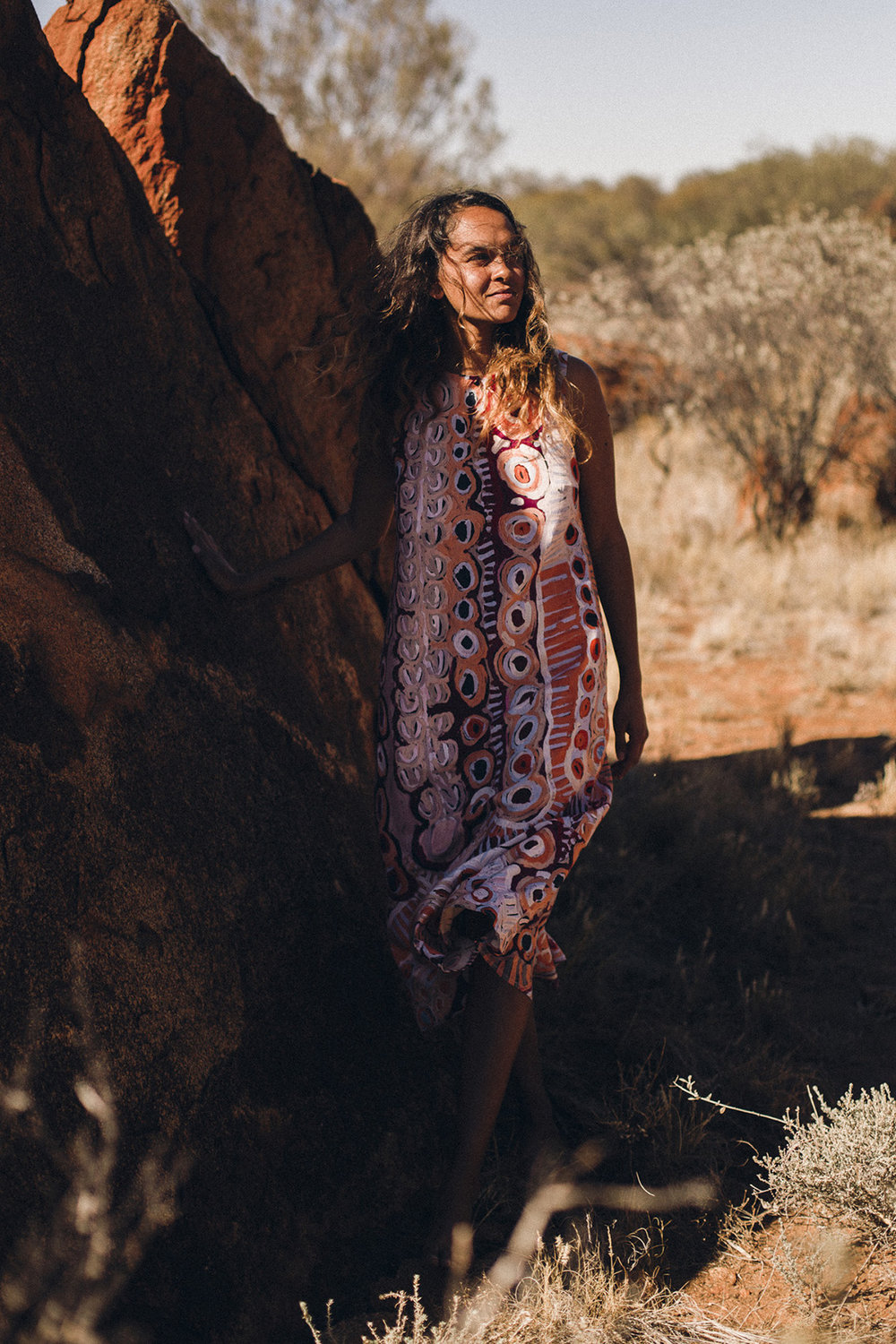 Artwork featured throughout this collection is deeply connected to Walpiri country and the artists are paid for each garment featuring their work, above the standards set out by the Indigenous Arts Law. -