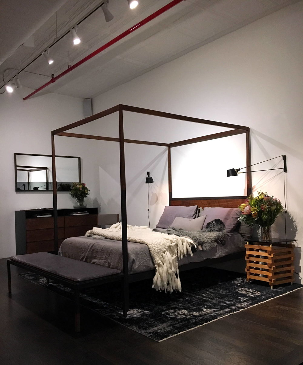 "Wright Bedding showroom in New York City.  Here is the 11"" tall Wright 1.27 mattress on display."