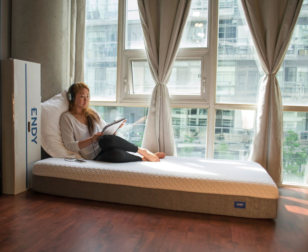 The Endy mattress is very comfortable for sleeping and hanging out.  You don't sink into the mattress, it feels like you are floating on the plush top.