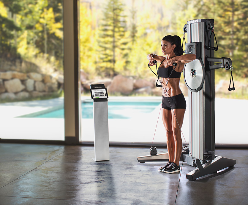 The live classes on the tablet help guide you through different exercises. Professional trainers model the proper form and speed for you to follow