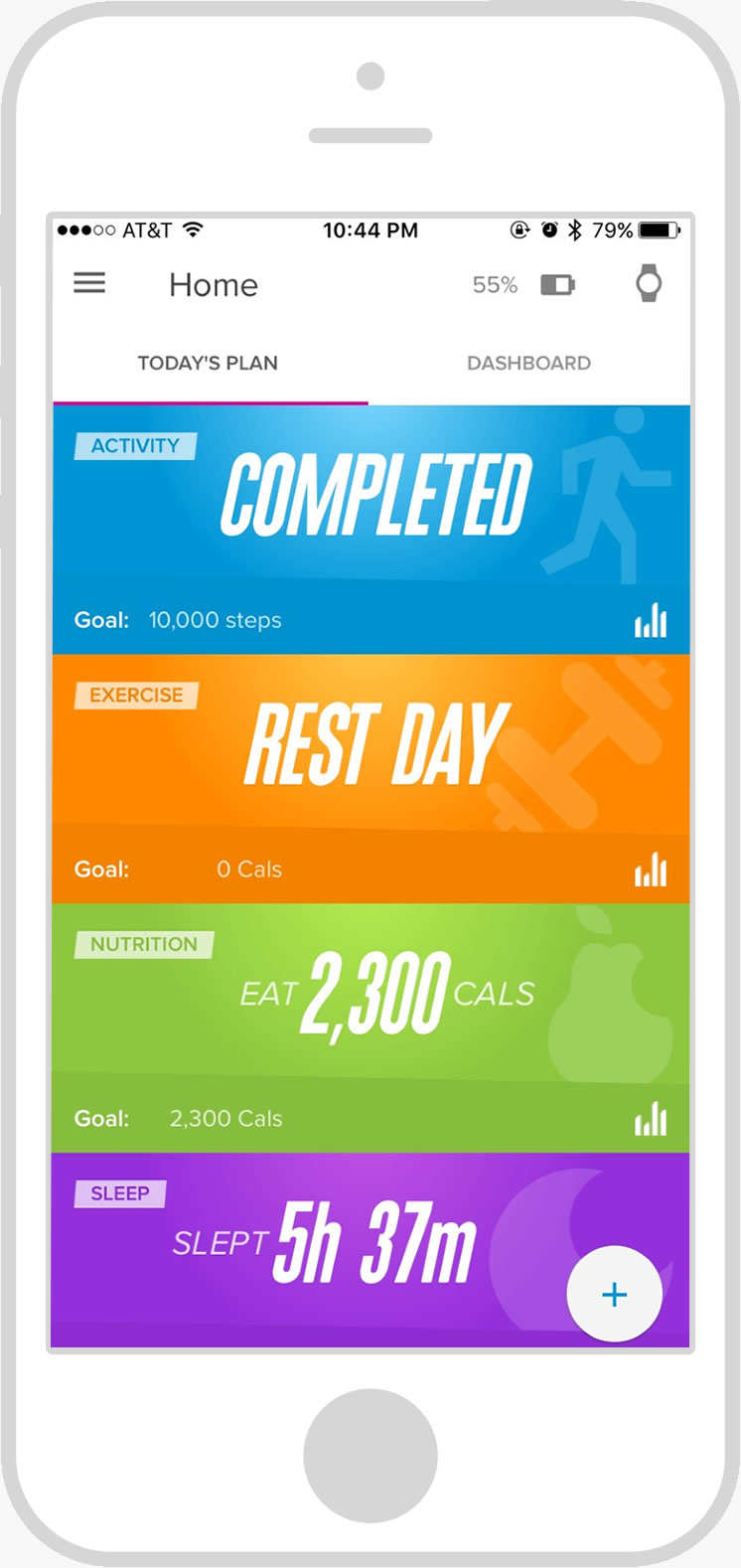 Screen shot of iFit Coach app's Today's Plan - a summary of what you have to do and have completed so far for the day
