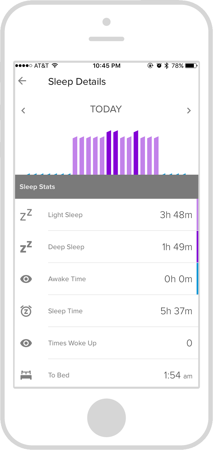 A snapshot of see how you slept last night - as you touch the bars the graph points out deep sleep vs. light sleep and over which hours.