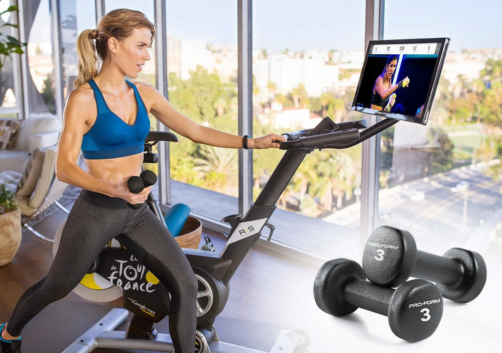 """THE PROFORM STUDIO BIKE PRO 22 HAS A 22"""" HD TOUCH SCREEN. LIVE CLASSES STREAMED DAILY . ALSO GREAT FOR CROSS TRAINING. SHIPS WITH 2 THREE POUND DUMBBELLS"""