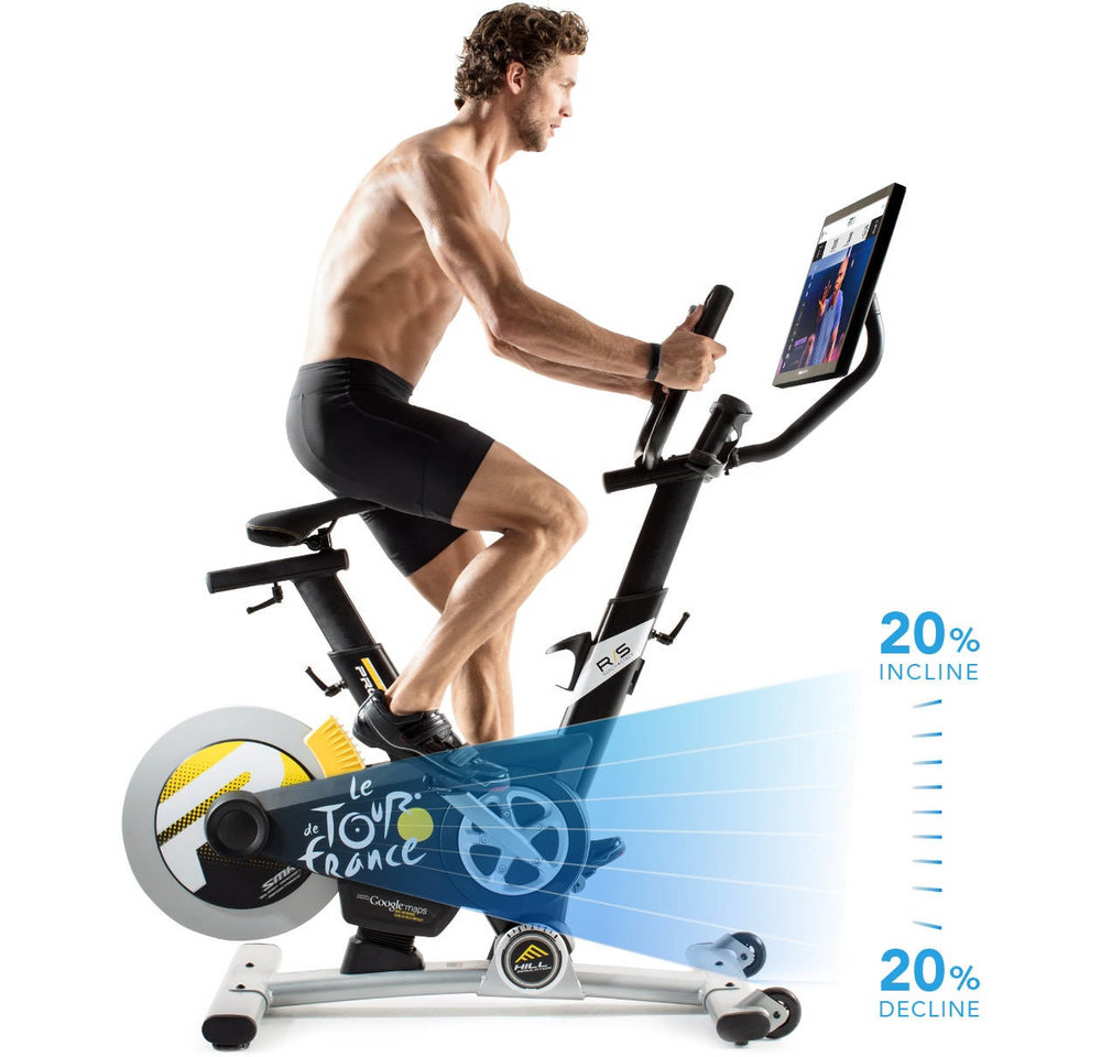 The Proform Studio Bike Pro has a 20% incline and decline.  The bike automatically adjusts to the terrain seen on the HD Touchscreen from the iFit Coach & google maps programs.
