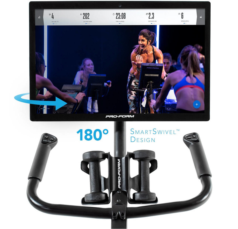 The ProForm Studio Bike Pro displays your stats live as you cycle through the class