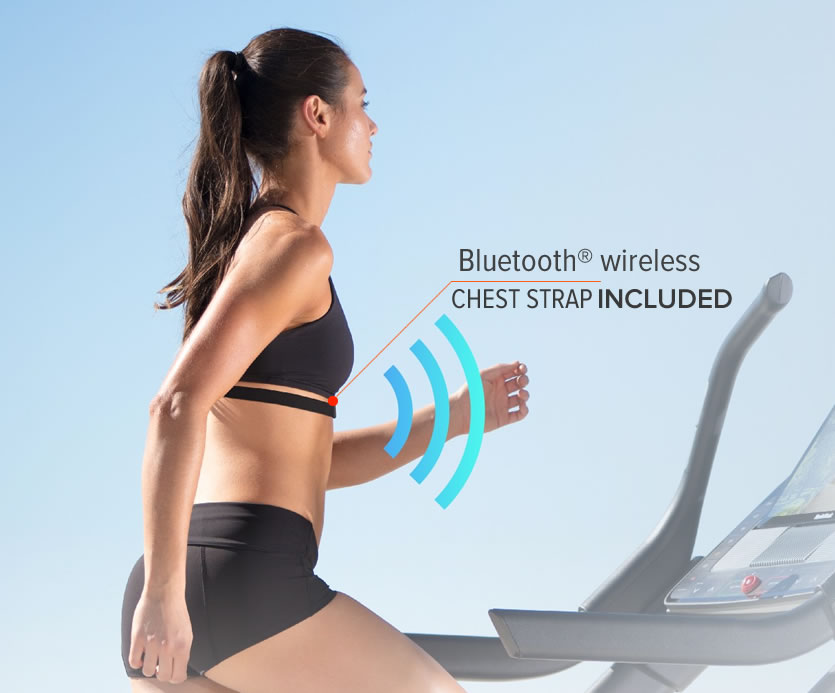 The X22i comes with a Bluetooth Heart rate Strap to update your rate automatically on the console display