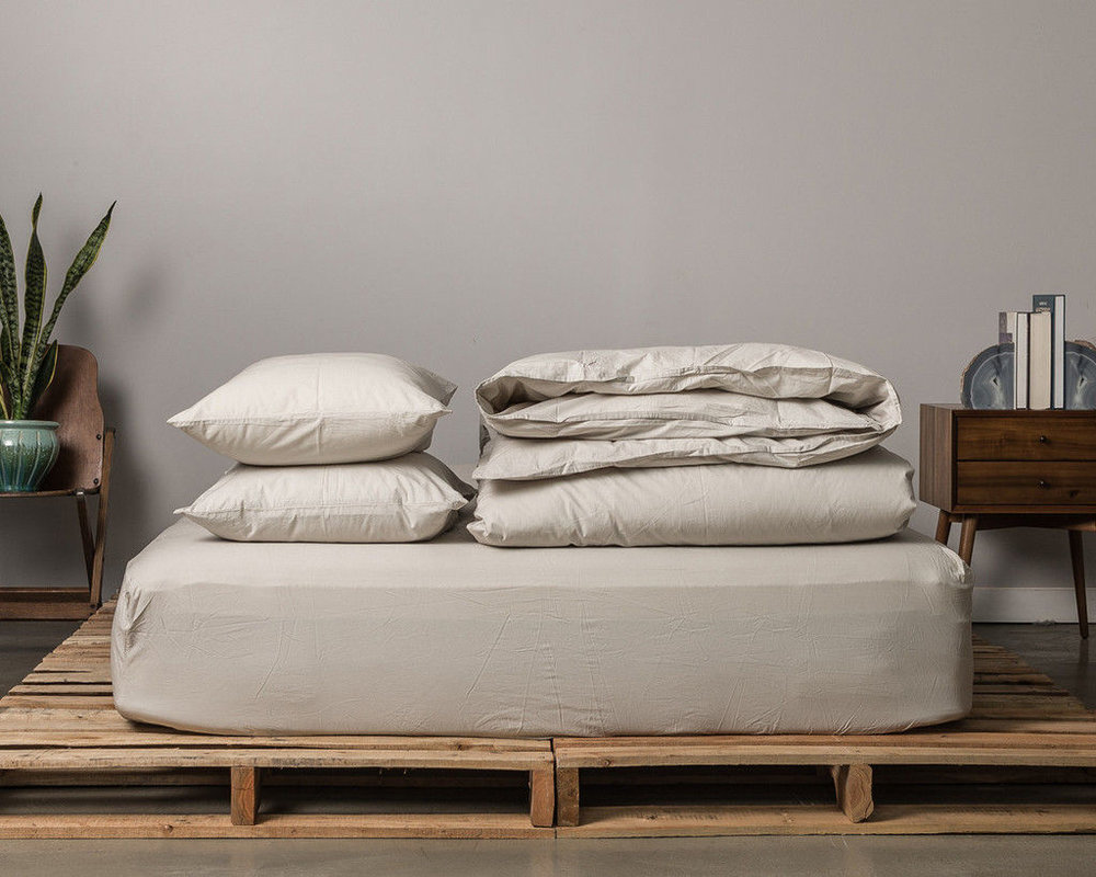 EACH SET INCLUDES A FITTED SHEET, FLAT SHEET, DUVET COVER AND 2 PILLOWCASES. SHOWN HERE IS THE SAND COLOR. YOU CAN ALSO PURCHASE THE SET WITHOUT THE TOP SHEET.