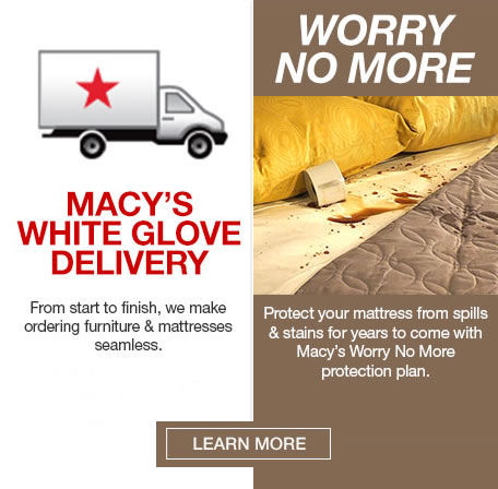 Macy's offers free shipping on orders over $787 with set-up You can purchase a 10 year mattress protection plan to keep your sleep surface clean.