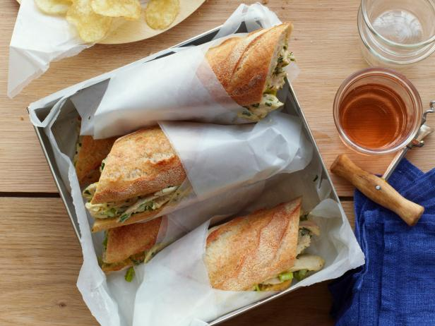 SERVE CHICKEN SALAD SANDWICHES ON FRENCH BAGUETTES WITH CHILLED ROSÉ