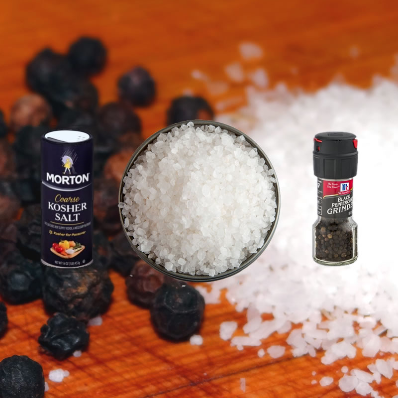 You can find the kosher salt and peppercorns with a grinder at your grocery - here how we mix it
