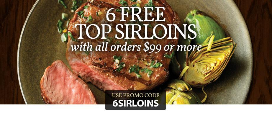 Chicago Steak Company 6 Sirloins Free