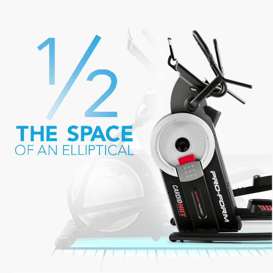 COMPARED TO A NORMAL ELLIPTICAL EXERCISE MACHINE, THE PROFORM HIIT TRAINER HAS A COMPACT FOOTPRINTTAKING UP HALF THE SPACE
