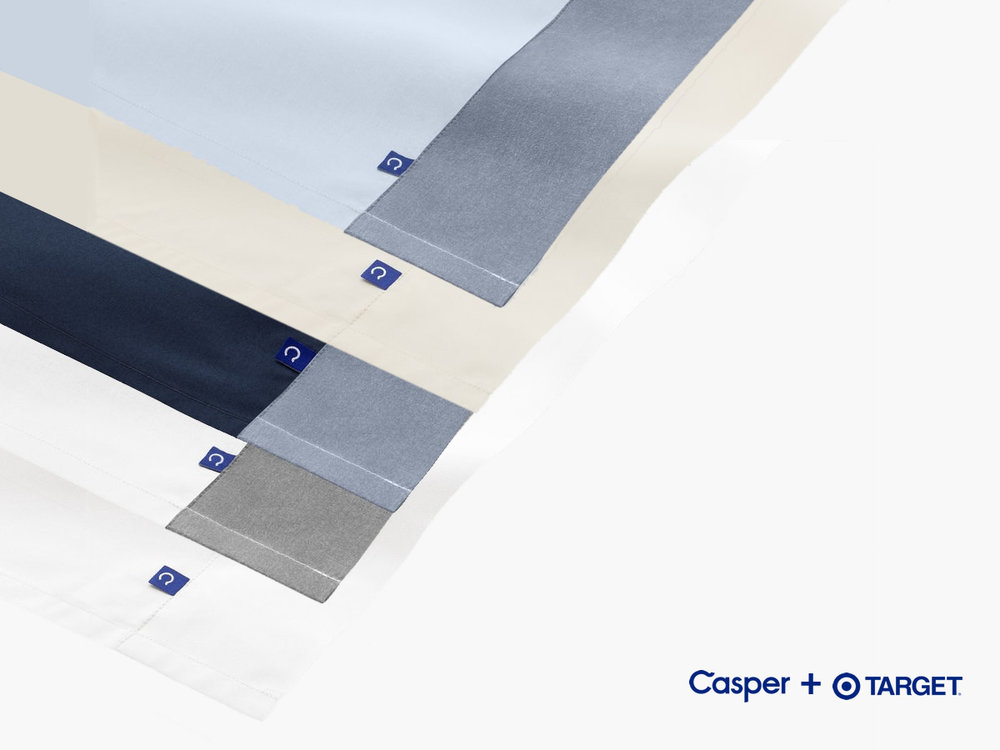 THE CASPER SHEETS COME IN 5 COLORS.  YOU CAN FEEL THE SHEETS & DUVET COVER AT MOST TARGET STORES THROUGH THE WINDOW ON THE PACKAGING.