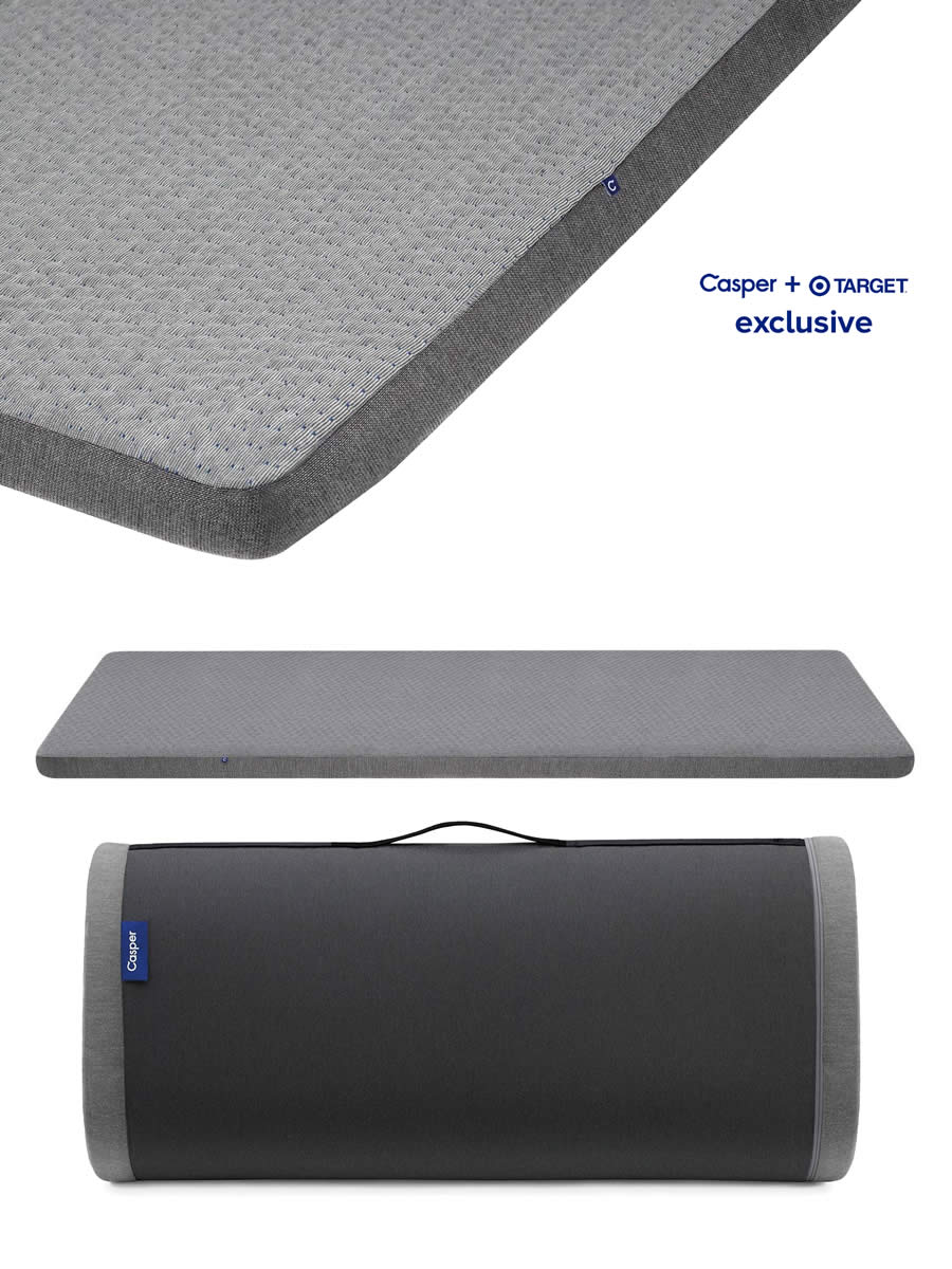 MORE CASPER EXCLUVIVES. THIS MAKES THE MOST AWFUL DORM MATTRESS REMARKABLY COMFORTABLE. DOUBLES AS A SLEEP MAT FOR THOSE OVERNIGHT GUESTS.   HIGHLY RECOMMEND. SPACE SAVER.