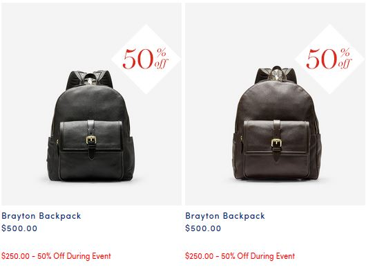 Gorgeous leather backpack from Cole Haan in black or brown now 50% off $250 - perfect gift from Cole Haan