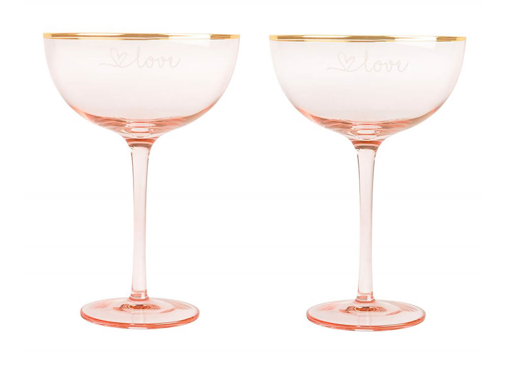 - then this Love Set of 2 Champagne Coupes from Cathy's Concepts mightbe a better choice.  They come in a beautiful rose color trimmed with a gold rim.Add in a bottle of Whispering Angel Rosé to either gift above & your shopping is done.