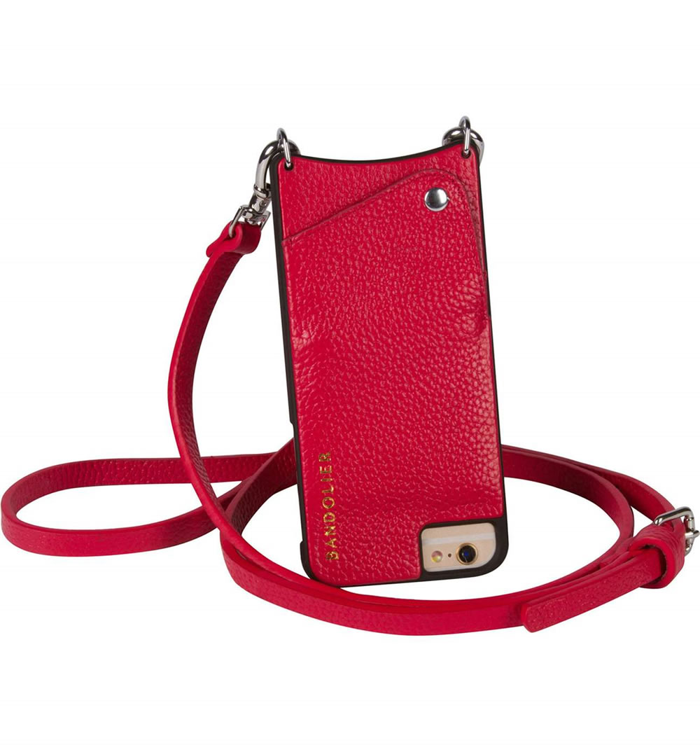 Backpacks aren't for everyone. - If your girl is a light traveler, then this BANDOLIER crossbody iPhone case is a great option. It comes in six different colors and fits iPhones 6, 7, and 8 and their plus counterparts.