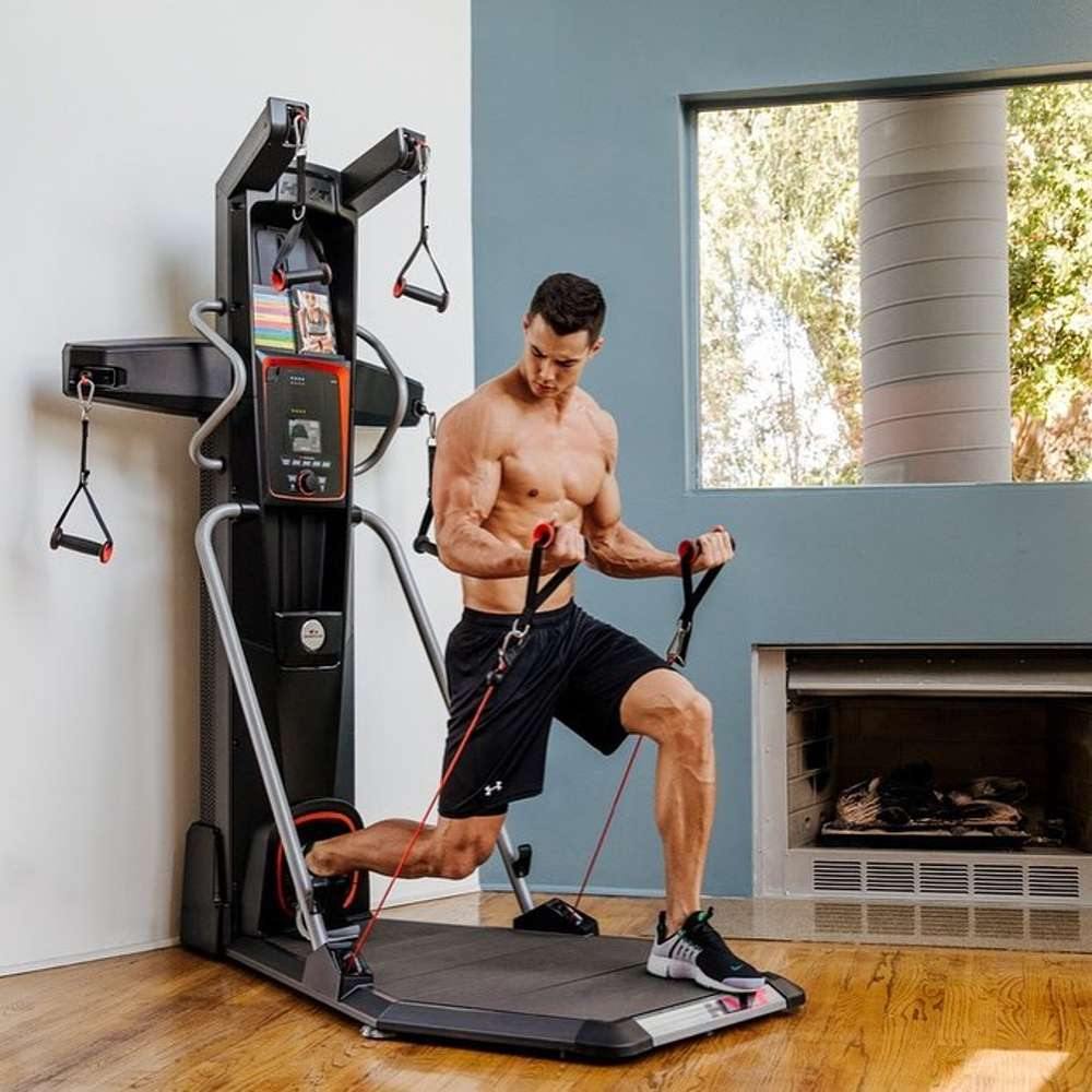 AWKWARD BALANCING ON THE PLATFORM WHILE TRYING TO FOCUS ON YOUR WORKOUT. THE BOWFLEX HVT+ RESTRICTS MOVEMENT WITH SIDE BARS AND ELEVATED PLATFORM