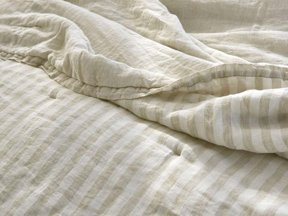 PARACHUTE STRIPED LINEN PARACHUTE QUILT  IN TAUPE - BREEZY LOOK FOR SUMMER