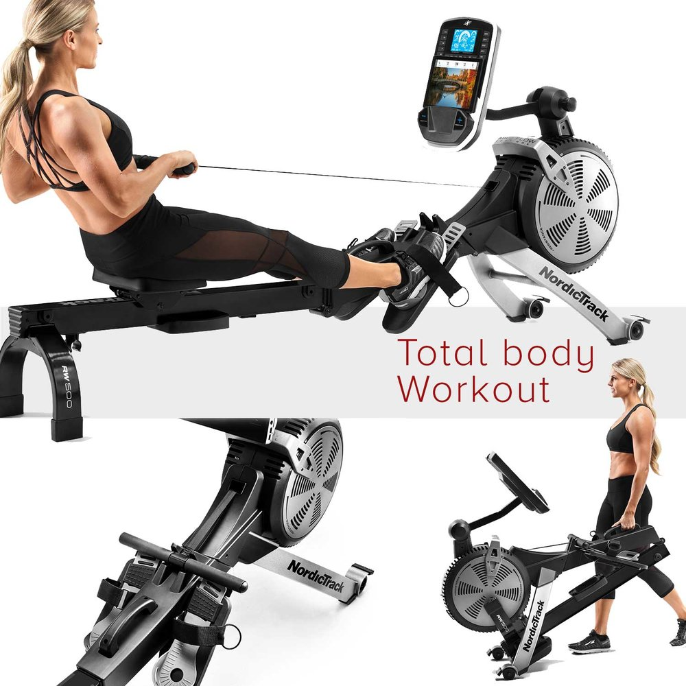 The RW200 & RW500 rower from Nordictrack provides a low impact total body workout. Has a SpaceSaver design that is easy to fold-up. Easy to read screen, that is adjustable, provides all your key stats, iFit Compatible.