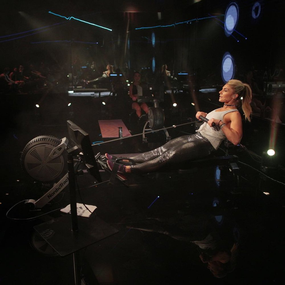 NordicTrack iFit Coach & Trainer Anja Garcia - filming a class the for NordicTrack Rowing machines