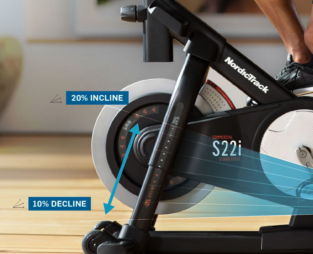 Unique to the the s22i . This studio cycle had elevation ability to incline and decline in sync with your studio class or the destination ride you have selected form the iFit content archive