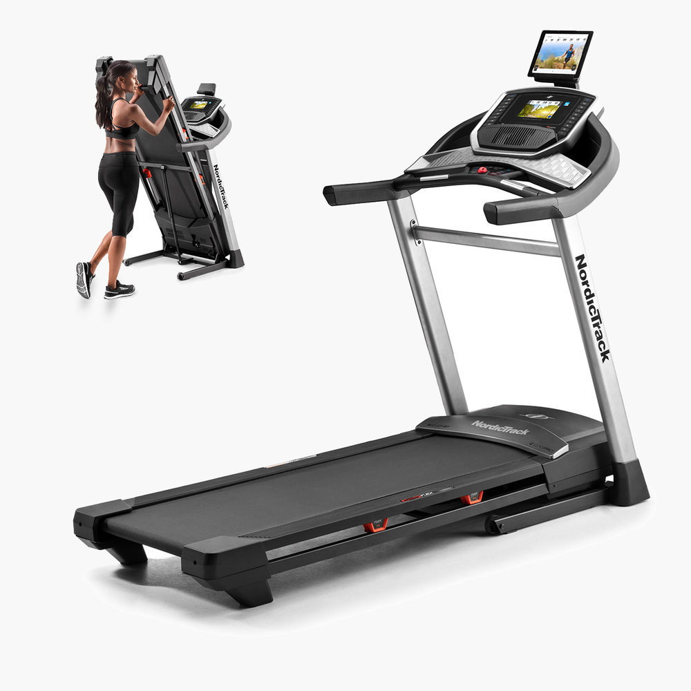 This treadmill  is a space saver with the ability to fold up the running deck. In addition to the HD touchscreen you can mount your own tablet and connect to  iFit Coach  or optionally use the HDMI port to connect to your Flat Screen TV