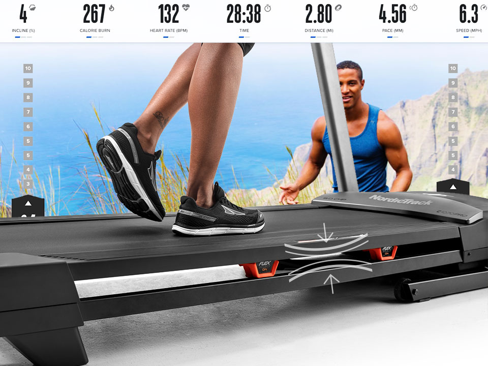 Adjust the treadmill's deck cushioning by switching the Runners-Flex knobs