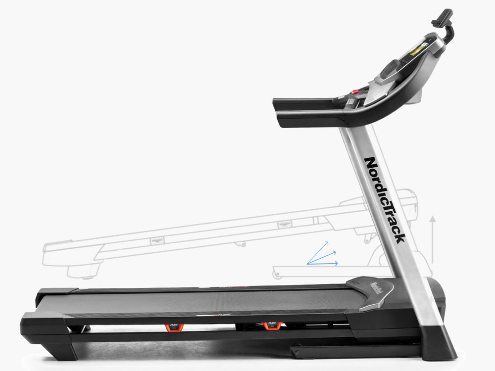 Features incline of up to 10% & 0-12 mph speed