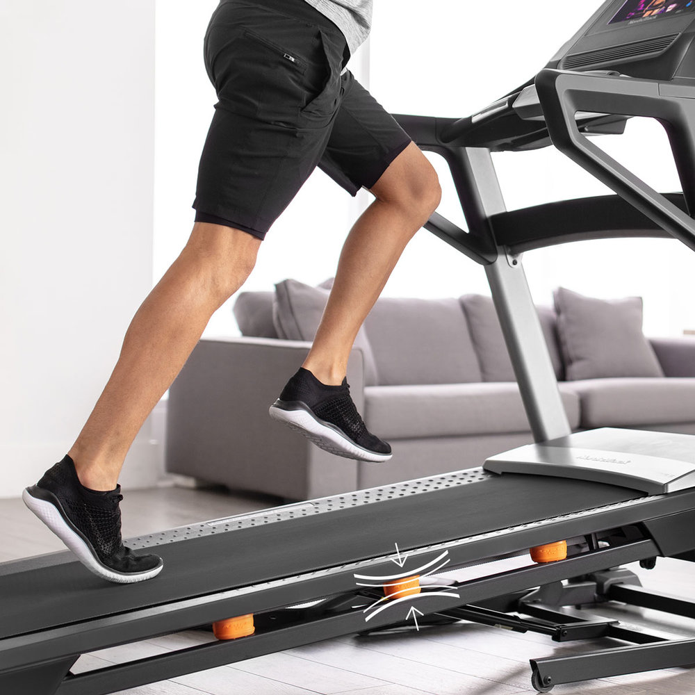 Adjust the treadmill's deck cushioning by switching the Runners-Flex-Select settings